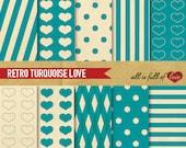 Valentines Digital Paper Turquoise Blue Scrapbooking Digital Backgrounds Vintage LOVE Patterns Valentines Paper Valentine card