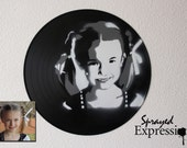 Custom Kid Portrait Spray Paintings on Upcycled Vinyl Record - Custom Order for justynjdub