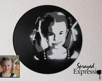Custom Kid Portrait Spray Paintings on Upcycled Vinyl Record - Custom Order for justynjdub