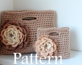CROCHET PATTERNS - Mother and daughter matching flower clutch Purses - Listing50