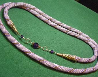 Glowing Dawn Necklace of crocheted beadwork with amethyst gemstones, vermeil, and gf wire wrap, OOAK handcrafted (#301)
