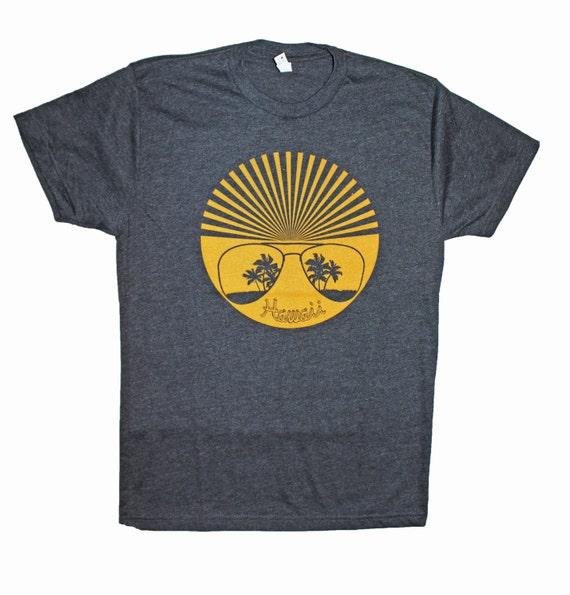 Men's Retro Hawaii Sun Shades T-shirt Vintage Revival Screen Print Handmade Tee