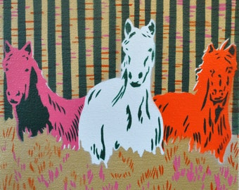 Three Horses spray paint stencil painting on canvas