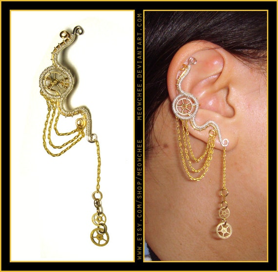 Steampunk Dangly Wheel ear cuff