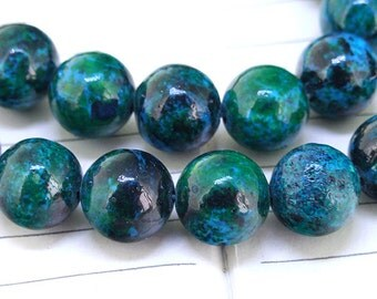 "Full Strand Malachite Azurite Beads ----- 12mm ----- about 32Pieces ----- gemstone beads--- 15.5"" in length"