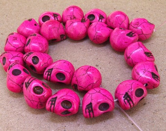 One Full Strand--- Pink Skull Turquoise Beads----17mmx17mm ----about 22 Pieces----15.5inch strand