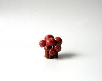 Ceramic Miniature, A Cluster of  Red Mushrooms, Miniature Sculpture by Eyal Binyamini, Studio Lind