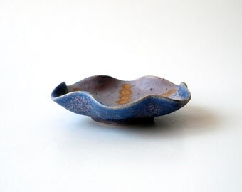 Ceramic Trinket Bowl in Purple and Blue with a Touch of Gold by Cecilia Lind, Studio Lind