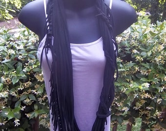 Upcycled  Fringed Jersey Infinity Scarf with Braid
