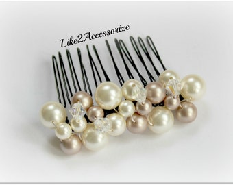 Bridal Hair Comb Wedding Pearl Hair Comb Crystal Wedding Hair Piece Swarovski Pearls Brown Crystals Ivory Champagne Pearl Cluster Hair Comb