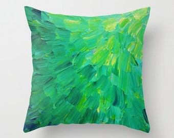 DECORATIVE THROW CUSHION Green Ombre Pillow Cover 16x16 18x18 20x20 Sea Bright Green Ocean Waves Beach Mermaid Abstract Art Painting Decor