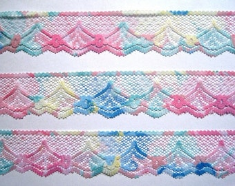 "Multicolor Scalloped Lace Trim, Pastels, 1"" inch wide, 1 yard, For Scrapbook, Mixed Media, Home Decor, Apparel, Accessories"