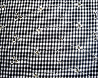 "Embroidered Woven Gingham Eyelet Fabric, Fat Quarter, Black / White, 18"" X 22"" inches, For Apparel, Accessories, Mixed Media, Home Decor"