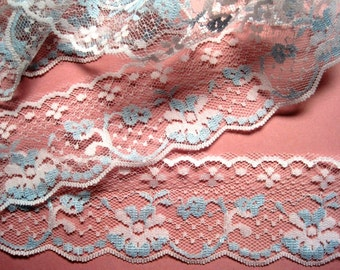 "Romantic Scalloped Floral Lace,  Blue / White , 2"" inch, 1 yard, For Dolls, Scrapbook, Mixed Media, Home Decor, Apparel, Crafted Gifts"
