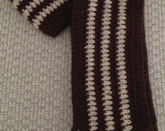 Brown and Tan Striped Crochet Scarf