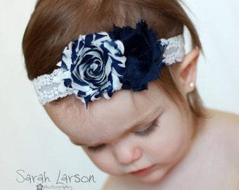 navy blue headband..baby girl headbands..girls navy headband..girls navy blue headbands..newborn headbands..girls headbands.