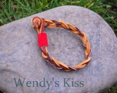 Braided Leather Bracelet - Brown with Red Accent