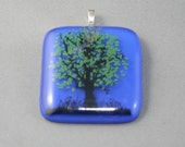 Sky Blue  Fused Glass Pendant with Tree Decal 50% off Clearance Sale