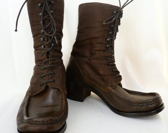90s PATRICK COX Wannabe brown boots lace up nylon and leather Ghurka military style: EU 37.5/ US7