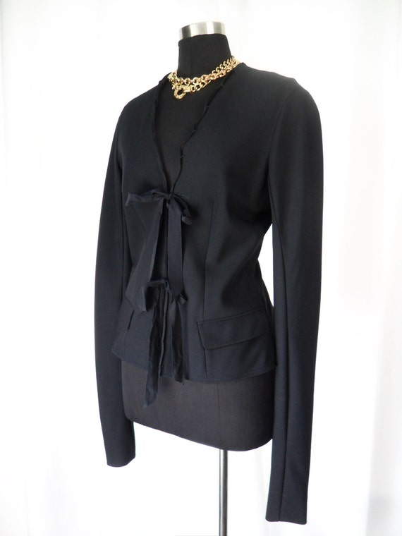 ReSERVED-90's vintage YSL haute couture jacket/Yves Saint Laurent unfinished distressed ribbon tie, ruched arm, collarless :Fr 42, US 10