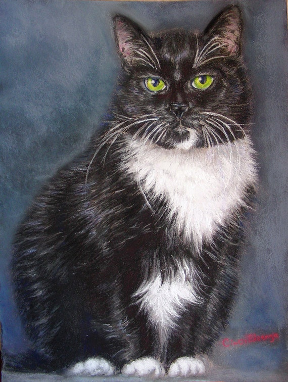 "Custom hand painted Pet Portrait in pastels 11""x 14"""