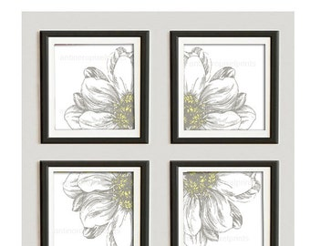 Yellow Khaki Floral Vintage / Modern inspired Ikat Art Prints Collection  -Set of (4) - 10x10 Prints -   (UNFRAMED)