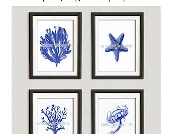 Digital Print Beach House Coral Prints Navy Wall Art Vintage / Modern Inspired -Set of (4) 8x10-  (UNFRAMED)