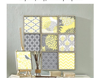 Patchwork Damask Prints Yellow Grey Vintage / Modern inspired Art Prints - (9) 10x10 Prints - Custom Colors Sizes Available (UNFRAMED)