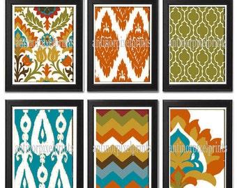 Ikat Digital illustration Wall Art - Set of (6) - 8x10 Prints - Featured in Orange Turquoise  (UNFRAMED)