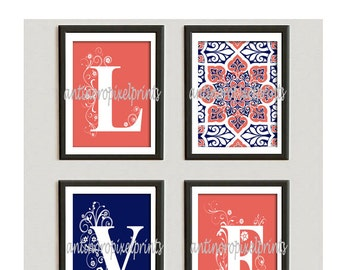Art Letter Word Wall Art Love Coral Navy White Wall Art Decor  Set Of ( Part 66