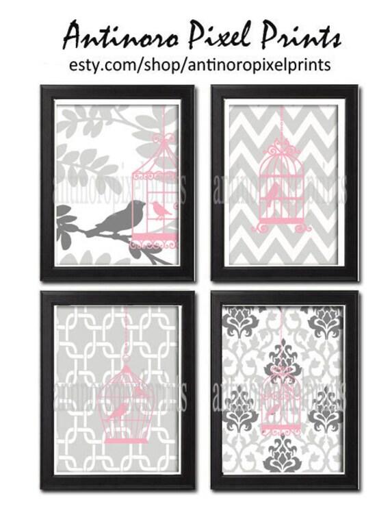 Pink Greys Bird Cage Prints Vintage Modern Art Print  - Set of Four 8x11 Unframed Art Print