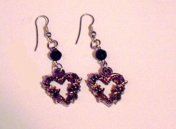 Vintage Renaissance Style Earrings, silver hearts for pierced ears