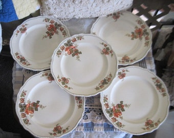 Homer Laughlin China, Vintage China Plates, Vintage Kitchen, Mid Century 1950s 1960s Homer Laughlin China 5 Dinner Plates Newell Shape :)s