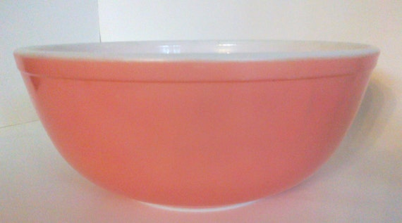 Reserved for Christy B. Large Pink Pyrex Ovenware/Mixing Bowl 4 quart size, Vingage Pink Pyrex Mixing Bowl