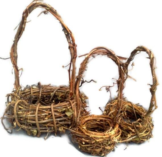 Grapevine Basket Set Rustic Grapevine Baskets Wedding