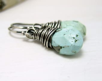 Genuine Turquoise Earrings, Oxidized Sterling Silver Pale Blue Persian Turquoise December Birthstone Earrings Wire Wrapped