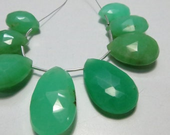 Chrysoprase 15 Pieces Lot Gorgeous AAA Supper Top  Quality Natural Stone Micro Faceted Pears Shape Briolett Size 15X24 mm 13X17 mm Approx