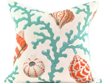Pillow Cover - P Kaufmann Sea Shell Branch Coral Fabric - Orange and White - Same Fabric BOTH Sides - Pick Your Size