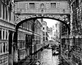 Bridge of Sighs in Venice Italy, European architecture,Black & White, 11 x 14 photograph