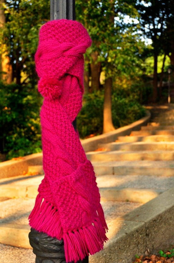 Knitting Pattern For Scarf With Hood And Pockets : Trifecta KNITTING PATTERN INSTRUCTIONS Pink Cable Knit Hooded Scarf with Pock...