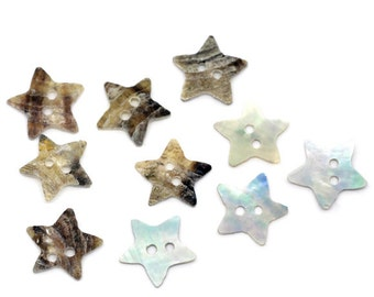 5 Mother of Pearl Shell Star Buttons - 11mm - 2 Hole - Star Shaped Shell Button