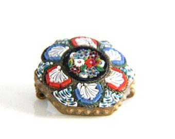 Micro Mosaic Flower Brooch - Floral Mosaic Pin - Italy