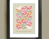 Home Décor, Wall Art, Living Room Print, Mid Century Modern, Made for each other - Love birds, A3 artists giclée print