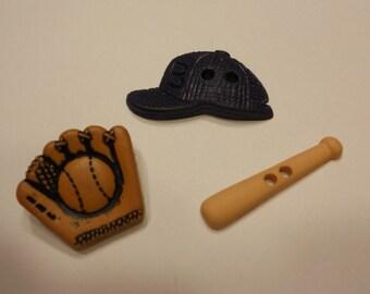 3 piece baseball button set, 20-33 mm (38)