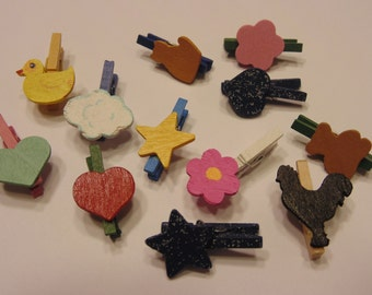 12 piece mini decorated clothespin mix, 26 mm (R3)