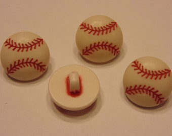4 baseball buttons, 16 mm (4)