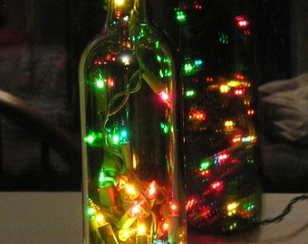 Green Wine Bottle Light with multi-colored Christmas lights