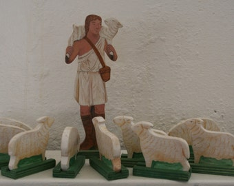 The Good Shepherd and 10 Sheep Wood Figures Made To Order