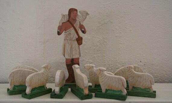 The Good Shepherd and 10 Sheep Wood Figures