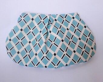 Pleated Clutch in Blue Argyle/Purse Organizer/White